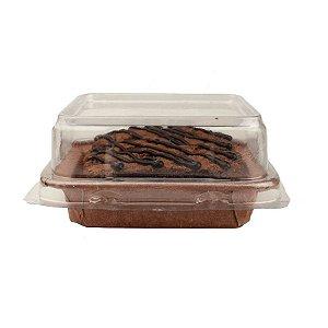 Forma Quadrada para Brownie P com tampa 5 un. Ecopack Rizzo Confeitaria