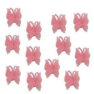 Confeitos Comestíveis Borboleta Rosa - Flores e Encantos de Açúcar Rizzo Confeitaria