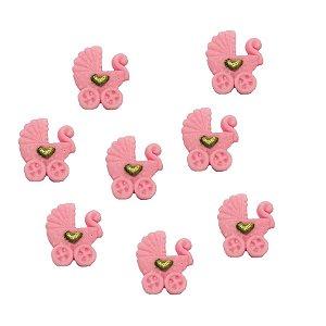Confeitos Comestíveis Carrinho de Bebe Rosa - Flores e Encantos de Açúcar Rizzo Confeitaria