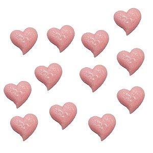 Confeitos Comestíveis Coração Rosa - Flores e Encantos de Açúcar Rizzo Confeitaria