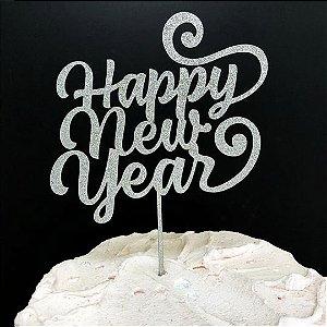 Topo de Bolo Happy New Year Glitter Prata Sonho Fino Rizzo Confeitaria