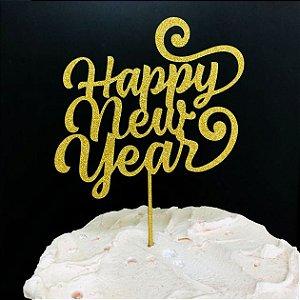 Topo de Bolo Happy New Year Glitter Dourado Sonho Fino Rizzo Confeitaria