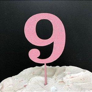 Topo de Bolo Número 9 Glitter Rosa Sonho Fino Rizzo Confeitaria