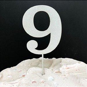 Topo de Bolo Número 9 Glitter Branco Sonho Fino Rizzo Confeitaria