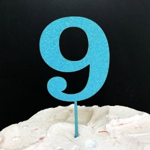 Topo de Bolo Número 9 Glitter Azul Sonho Fino Rizzo Confeitaria