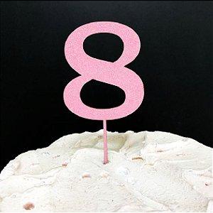 Topo de Bolo Número 8 Glitter Rosa Sonho Fino Rizzo Confeitaria