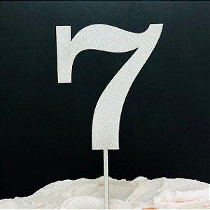 Topo de Bolo Número 7 Glitter Branco Sonho Fino Rizzo Confeitaria