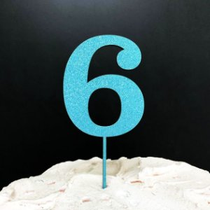 Topo de Bolo Número 6 Glitter Azul Sonho Fino Rizzo Confeitaria