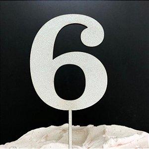Topo de Bolo Número 6 Glitter Branco Sonho Fino Rizzo Confeitaria