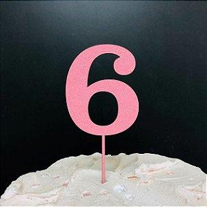 Topo de Bolo Número 6 Glitter Rosa Sonho Fino Rizzo Confeitaria