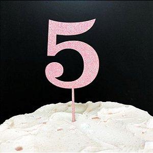 Topo de Bolo Número 5 Glitter Rosa Sonho Fino Rizzo Confeitaria