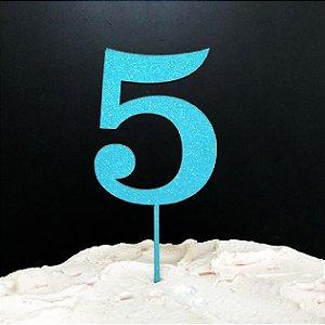 Topo de Bolo Número 5 Glitter Azul Sonho Fino Rizzo Confeitaria