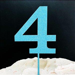 Topo de Bolo Número 4 Glitter Azul Sonho Fino Rizzo Confeitaria