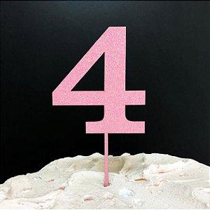 Topo de Bolo Número 4 Glitter Rosa Sonho Fino Rizzo Confeitaria