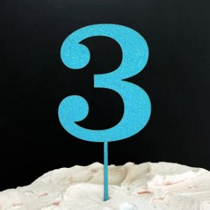 Topo de Bolo Número 3 Glitter Azul Sonho Fino Rizzo Confeitaria