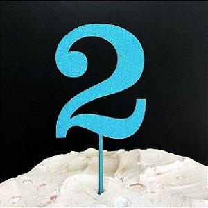 Topo de Bolo Número 2 Glitter Azul Sonho Fino Rizzo Confeitaria