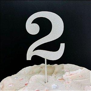 Topo de Bolo Número 2 Glitter Branco Sonho Fino Rizzo Confeitaria