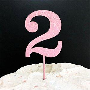 Topo de Bolo Número 2 Glitter Rosa Sonho Fino Rizzo Confeitaria
