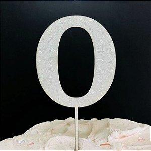 Topo de Bolo Número 0 Glitter Branco Sonho Fino Rizzo Confeitaria