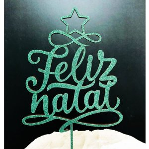 Topo de Bolo Feliz Natal Glitter Verde Sonho Fino Rizzo Confeitaria