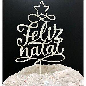 Topo de Bolo Feliz Natal Glitter Branco Sonho Fino Rizzo Confeitaria