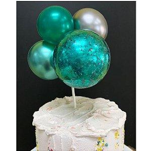 Topo de Bolo Mini Balões Verde Rizzo Confeitaria
