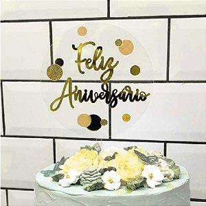 Topo de Bolo Feliz Aniversario Acrílico Dourado Vivarte Rizzo Confeitaria