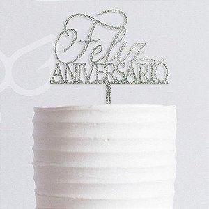 Topo de Bolo Feliz Aniversário Prata Gliter Vivarte Rizzo Confeitaria
