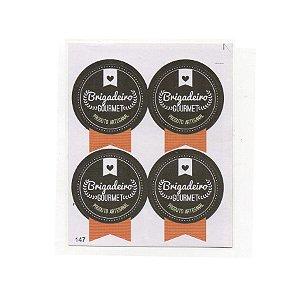 Etiqueta Adesiva Selo Brigadeiro Gourmet com 20 unidades Ref. 147 Papieri Rizzo Confeitaria