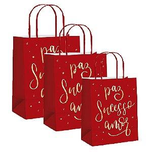 Sacola de Papel Decorada Desejos Natalinos - Unid - Cromus Natal Rizzo Confeitaria