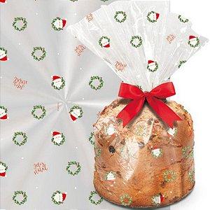 Saco para Panetone Transparente Guirlanda Cromus Natal Rizzo Confeitaria