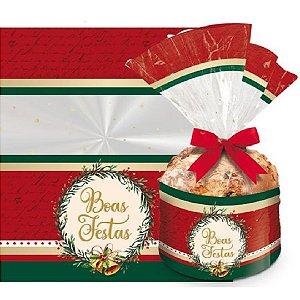 Saco para Panetone Decorado Boas Festas Cromus Natal Rizzo Confeitaria