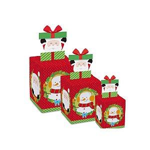 Caixa Pop Up Chaminé Surpresa com 10 un. Cromus Natal Rizzo Confeitaria