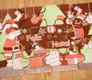 Blister Decorado com Transfer para Chocolate Quebra Cabeça de Natal BLN0072 Stalden Rizzo Confeitaria