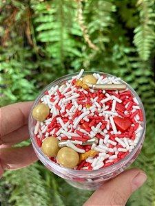 Fairy Sprinkles Especial Granulado Branco / Vermelho 150 gr Rizzo Confeitaria