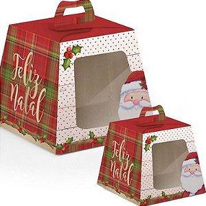 Caixa Mini Panetone com Visor Noel 10 unidades Cromus Natal Rizzo Confeitaria