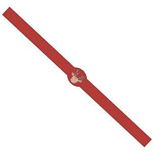 Tiras de Natal Rena Natalina Vermelho para Embalagens com 5un. Rizzo Confeitaria