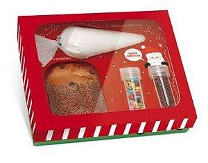 Caixa Panetone Kit Confeiteiro Ho Ho Ho - 20,5 x 18 x 8cm - 01 Unidade Cromus Natal - Rizzo Confeitaria