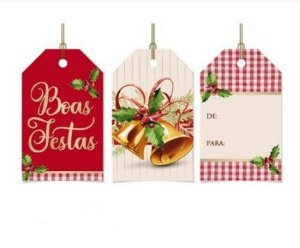 Tag Decorativa Natal Sinos Natalinos 12 unidades Cromus Rizzo Confeitaria