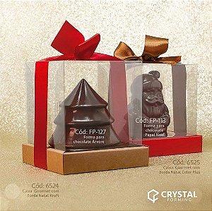 Caixa Gourmet Vermelho com Borda - 05 Unidades - Crystal Forming - Rizzo Confeitaria