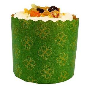 Forma para Panetone Decorada Verde 500 g com 12 un. Ecopack Rizzo Confeitaria