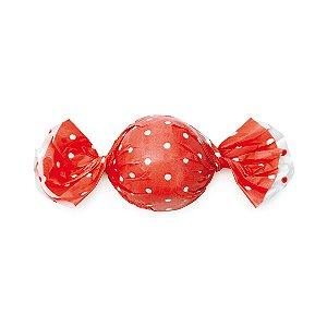 Embalagem Trufa 12x12,5cm - Poa Double Face Vermelho - 100 unidades - Cromus - Rizzo Confeitaria