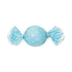 Embalagem Trufa 12x12,5cm - Poa Double Face Azul - 100 unidades - Cromus - Rizzo Confeitaria