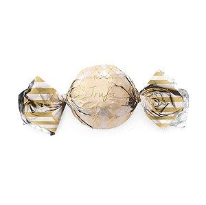 Embalagem Trufa 15x16cm - Vichy Marfim - 100 unidades - Cromus - Rizzo Confeitaria