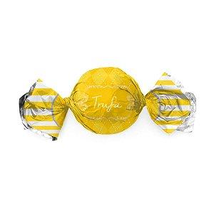 Embalagem Trufa 15x16cm - Vichy Amarelo - 100 unidades - Cromus - Rizzo Confeitaria