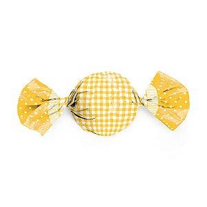 Embalagem Trufa 15x16cm - Xadrez Amarelo - 100 unidades - Cromus - Rizzo Confeitaria
