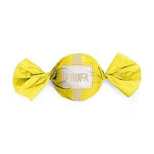 Embalagem Trufa 15x16cm - Petit Poá Amarelo e Ouro - 100 unidades - Cromus - Rizzo Confeitaria