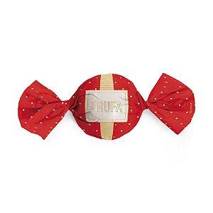 Embalagem Trufa 15x16cm - Petit Poá Vermelho e Ouro - 100 unidades - Cromus - Rizzo Confeitaria