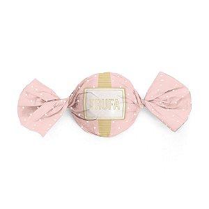 Embalagem Trufa 15x16cm - Petit Poá Rosa e Ouro - 100 unidades - Cromus - Rizzo Confeitaria