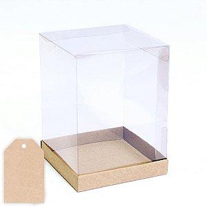 Caixa para Panetone com tag 250g Kraft - 12X12X16cm - 10 unidades - Eluhe Rizzo Confeitaria